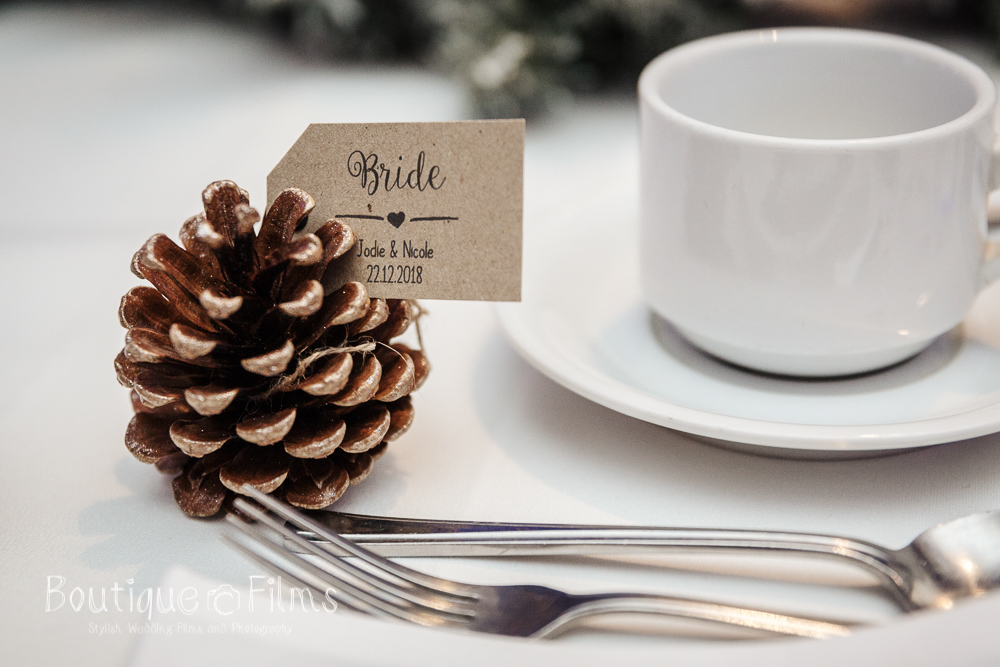 Winter Wedding Pinecone Table Decoration