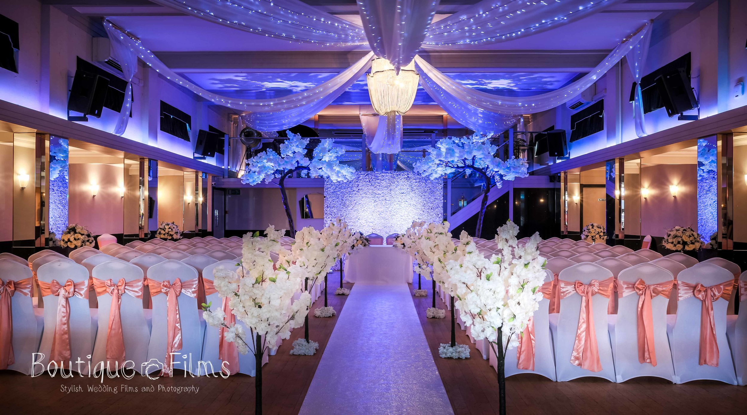 Pink and Blue Wedding Ceremony at The Arlington Ballroom Essex