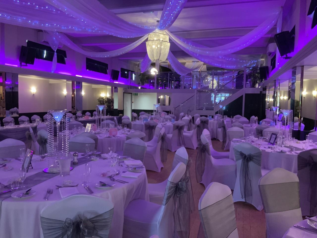 Purple and White Wedding Reception - Rosie and Daniel's Wedding 24th August 2019 - Arlington Ballroom Southend