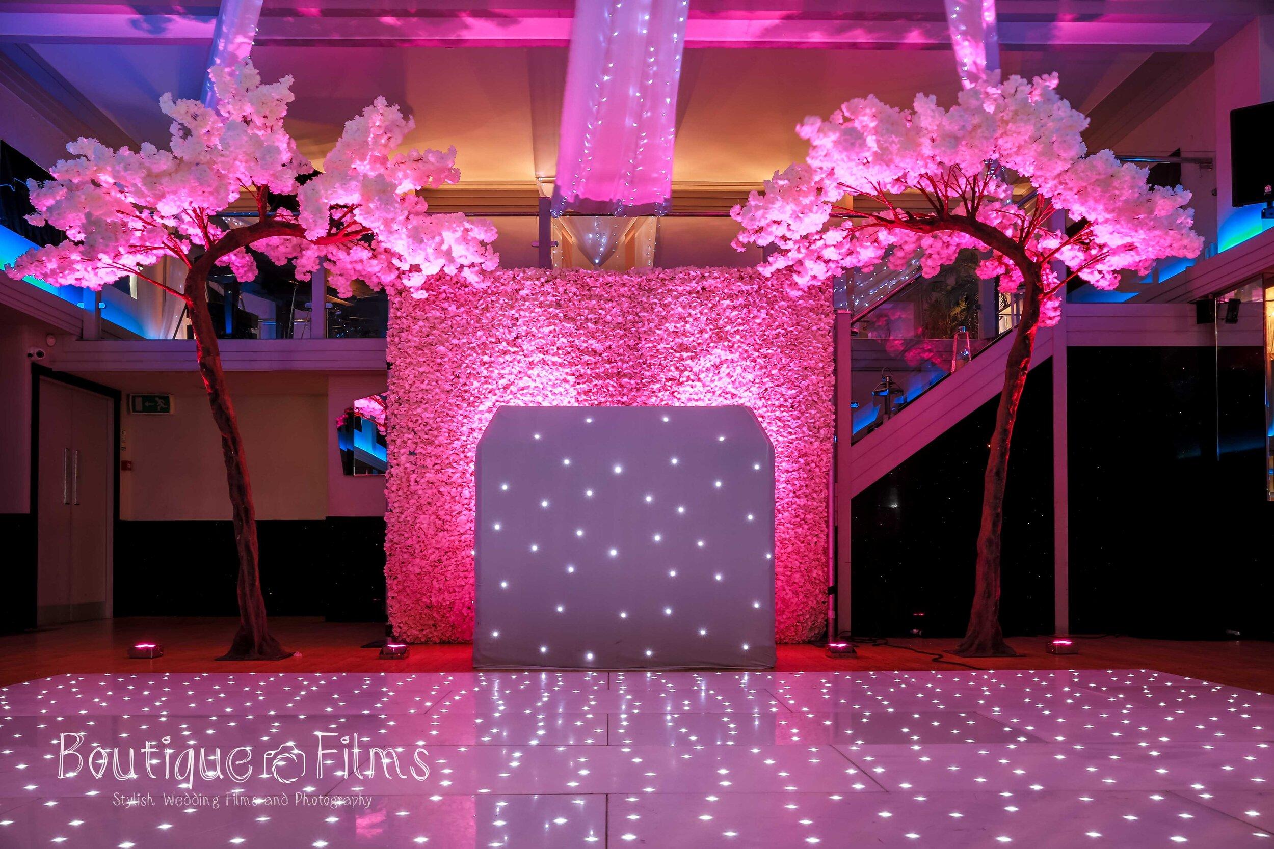 Art Deco Ballroom Light Up Dance Floor and Flower Curtain
