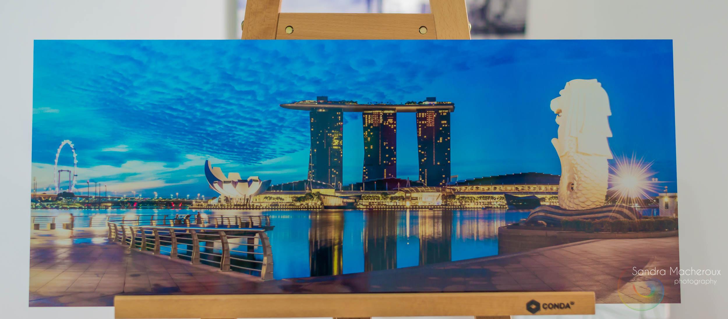 Creative-Sparq By Ayesha Kohli featuring Sandra Macheroux's Marina Bay and Merlion At Dawn, Singapore