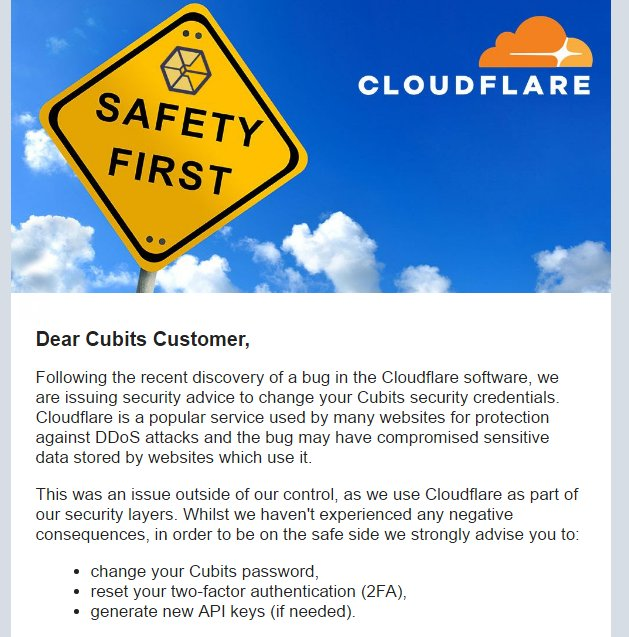 Security notification sent to Cubits customers following Cloudbleed