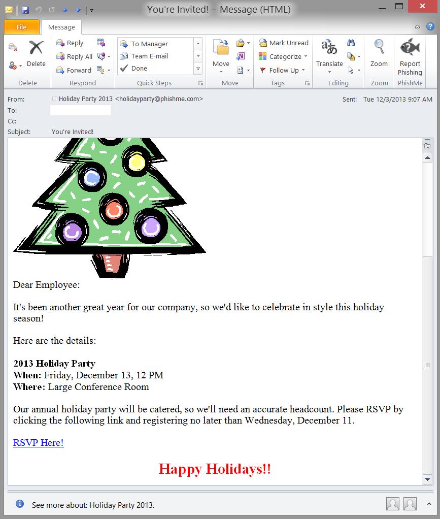 Fake Holiday Function Invitations