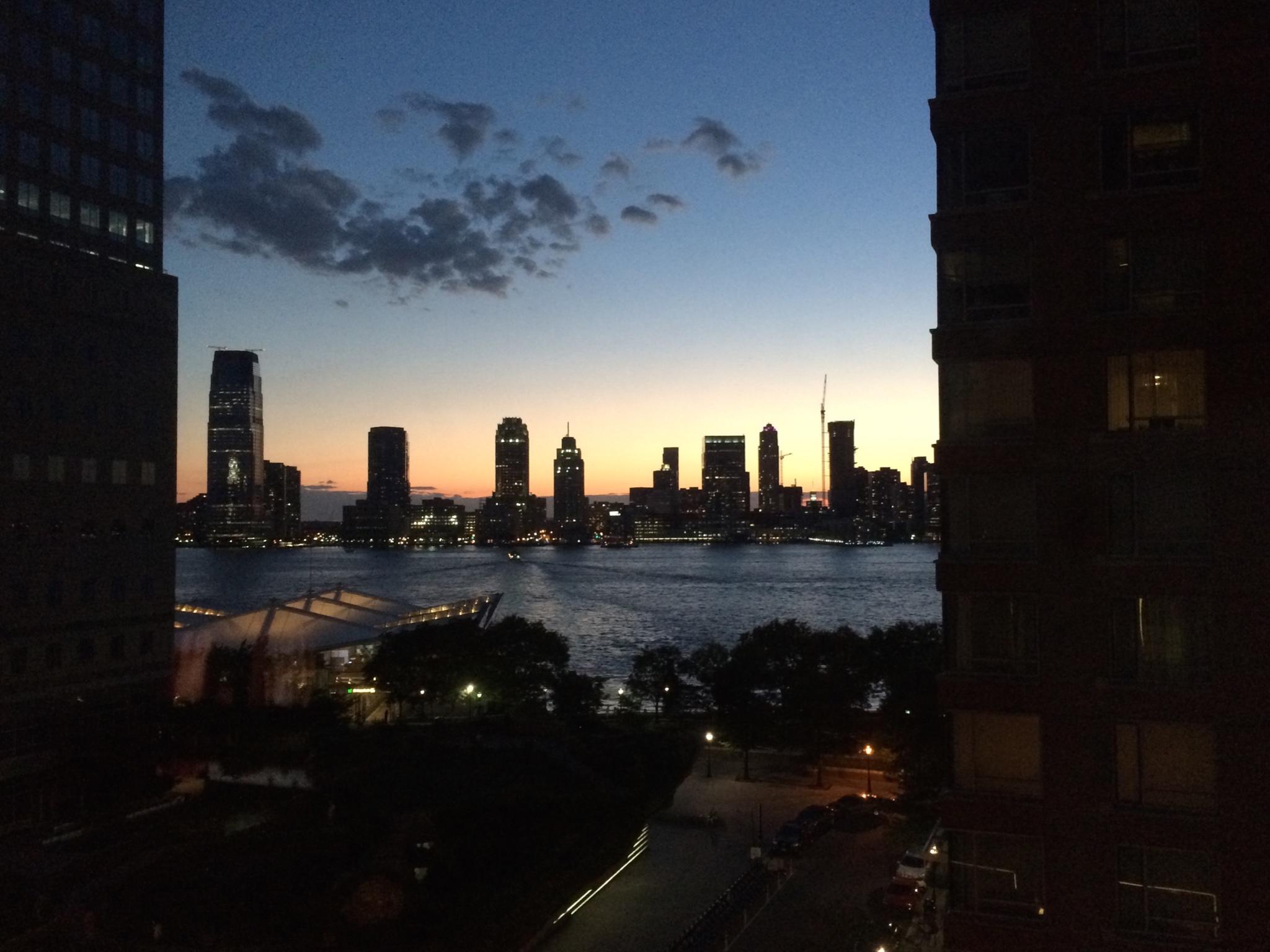 Blick aus dem Conrad Hotel in Richtung Jersey City.