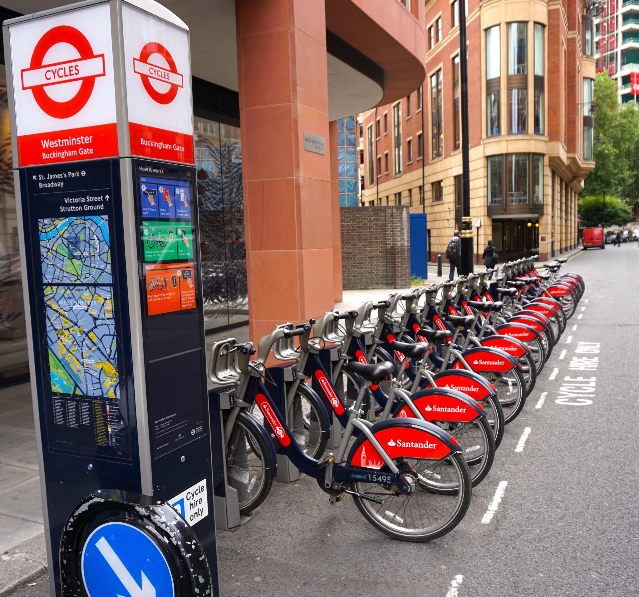 Dockingstation der Santander Fahrräder.