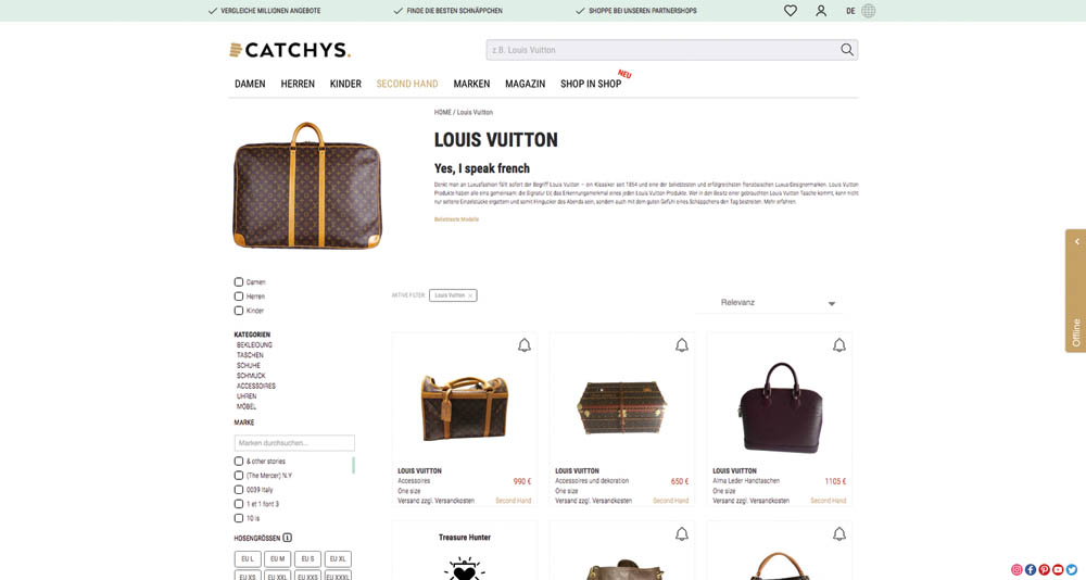 BeFifty Blog für Frauen über 40 und über 50. Beate Finken. Vintage und Second Hand Shopping. Catchys die Plattform für Online Second Shopping. Louis Vuitton Tasche Second Hand kaufen