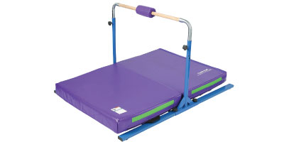 Junior Bar Pro Package 1 - This is a basic freestanding single bar with a soft landing mat underneath and should be used only for conditioning and practicing skills that the gymnast already knows how to execute safely and properly. The gymnast should always consult with her coach before trying anything at home.  Be advised that there is a weight limit for this item.
