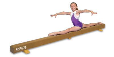 Floor Balance Beam - This is a 4-inch wide floor balance beam, the same width as the regulation size beam the gymnasts use at the gym. It should be used only for conditioning and practicing skills that the gymnast already knows how to execute safely and properly. The gymnast should always consult with her coach before trying anything at home.