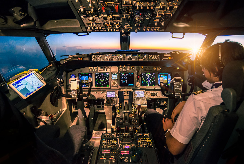 Coucher de soleil depuis le cockpit