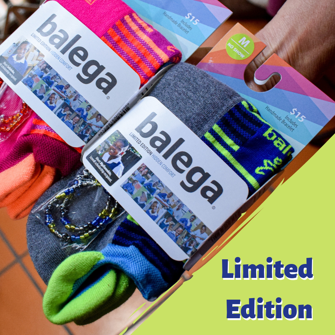 - Visit us and celebrate Balega's Year of Giving Back. Buy any LIMITED EDITION sock and receive a matching beaded bracelet. R15 from every pair sold will go to The Lesedi Foundation.Balega running socks are expertly designed and crafted from heel to toe for superior performance that keeps pace for all runners. Designed, tested, and manufactured in South Africa, Balega running socks are ultra soft, durable, and well designed.