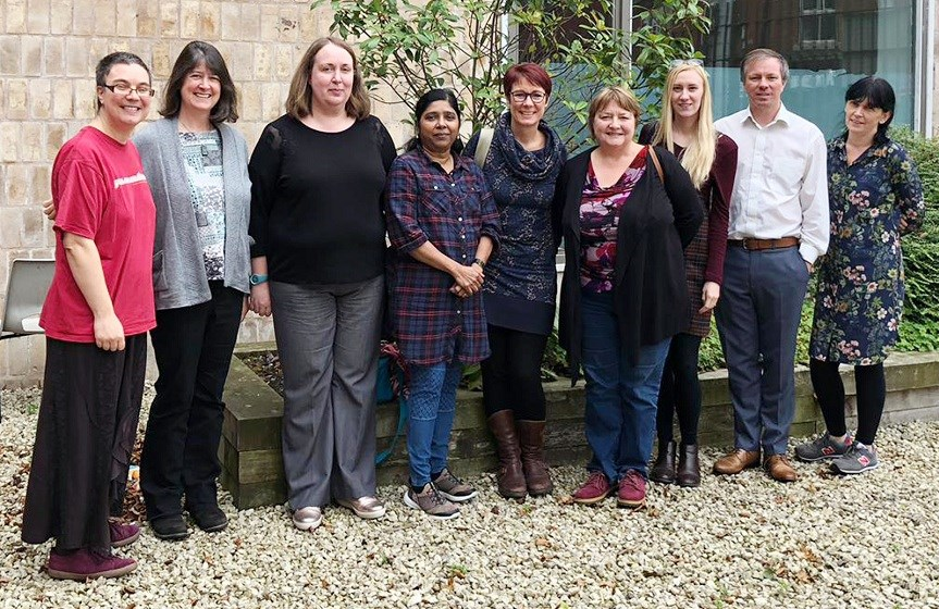 Left to right: Kristie Legg, Brec Seaton, Edel McClean, Jasmine Devadason, Alison Ransome, Alison Ball, Melody Clarke, Simon Sutcliffe and Alison Hulse.