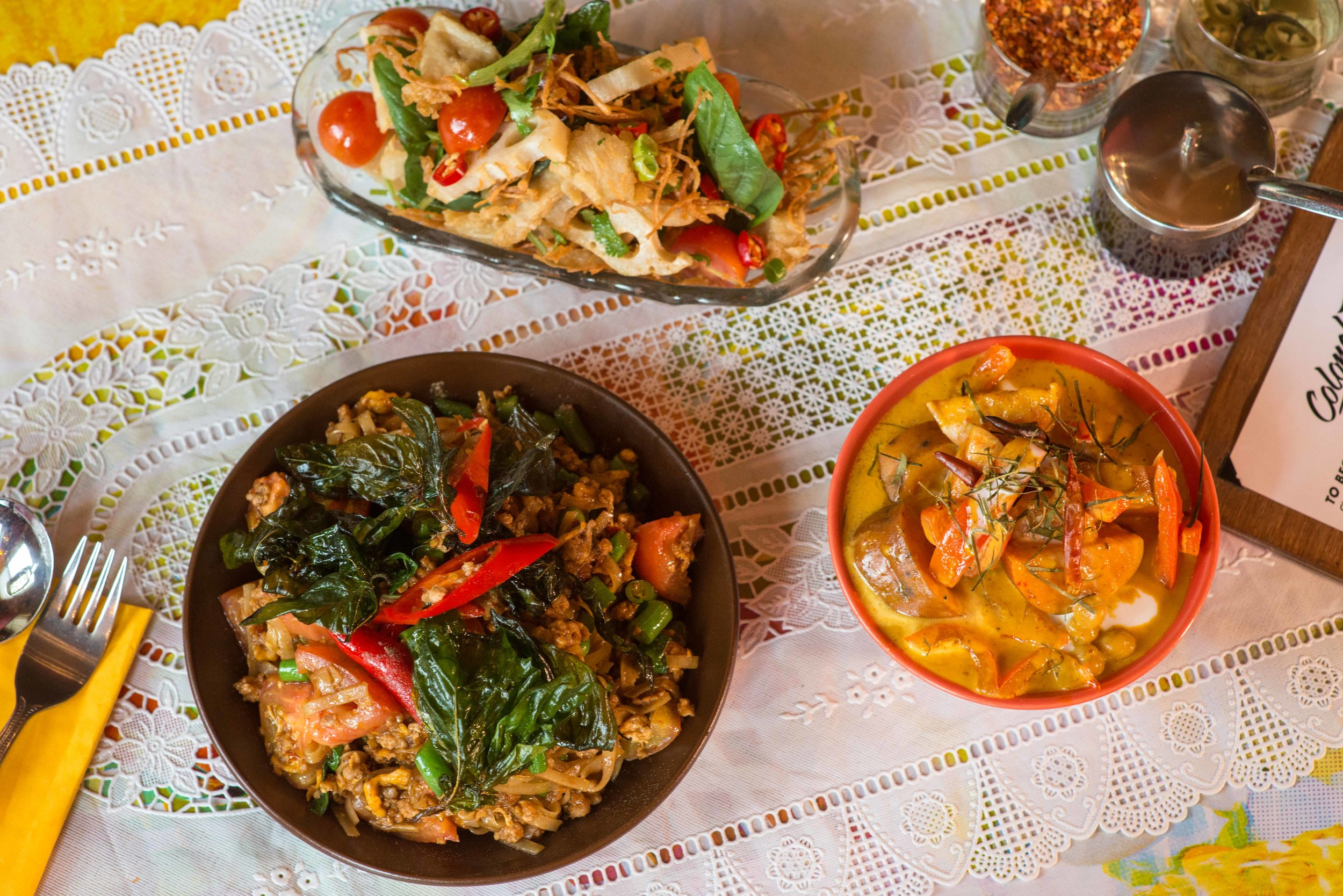 For groups of 12 and over, we offer our Banquet Menu.The Menu is Thai inspired and designed to share, which is the best way to experience food at Colonel Tan's!Decide if you want One Course or Two and use the format below as a guideline to choose for your group. -