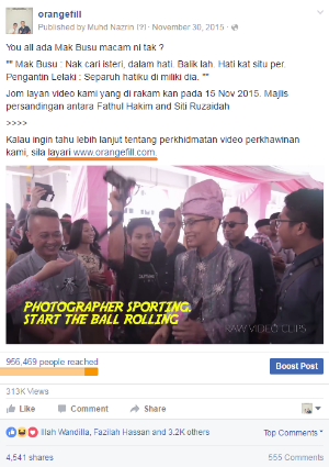 """** Sorry that my copywriting is in Malay language. Direct translation, """" Want to know about our wedding video services, visit www.orangefill.com. """""""