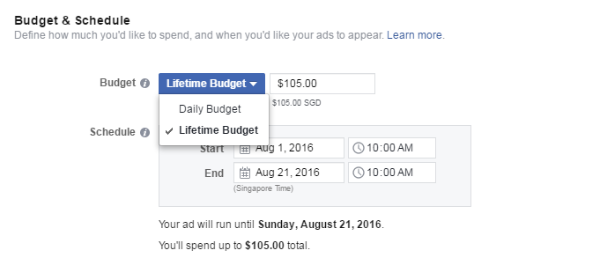 Facebook change from daily budget to lifetime budget singapore