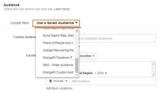 Singapore Facebook Saved Audience Settings