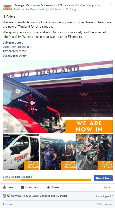 singapore bike towing services to and fro Thailand