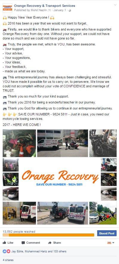 Orange Towing Services Does Facebook Ads In Singapore