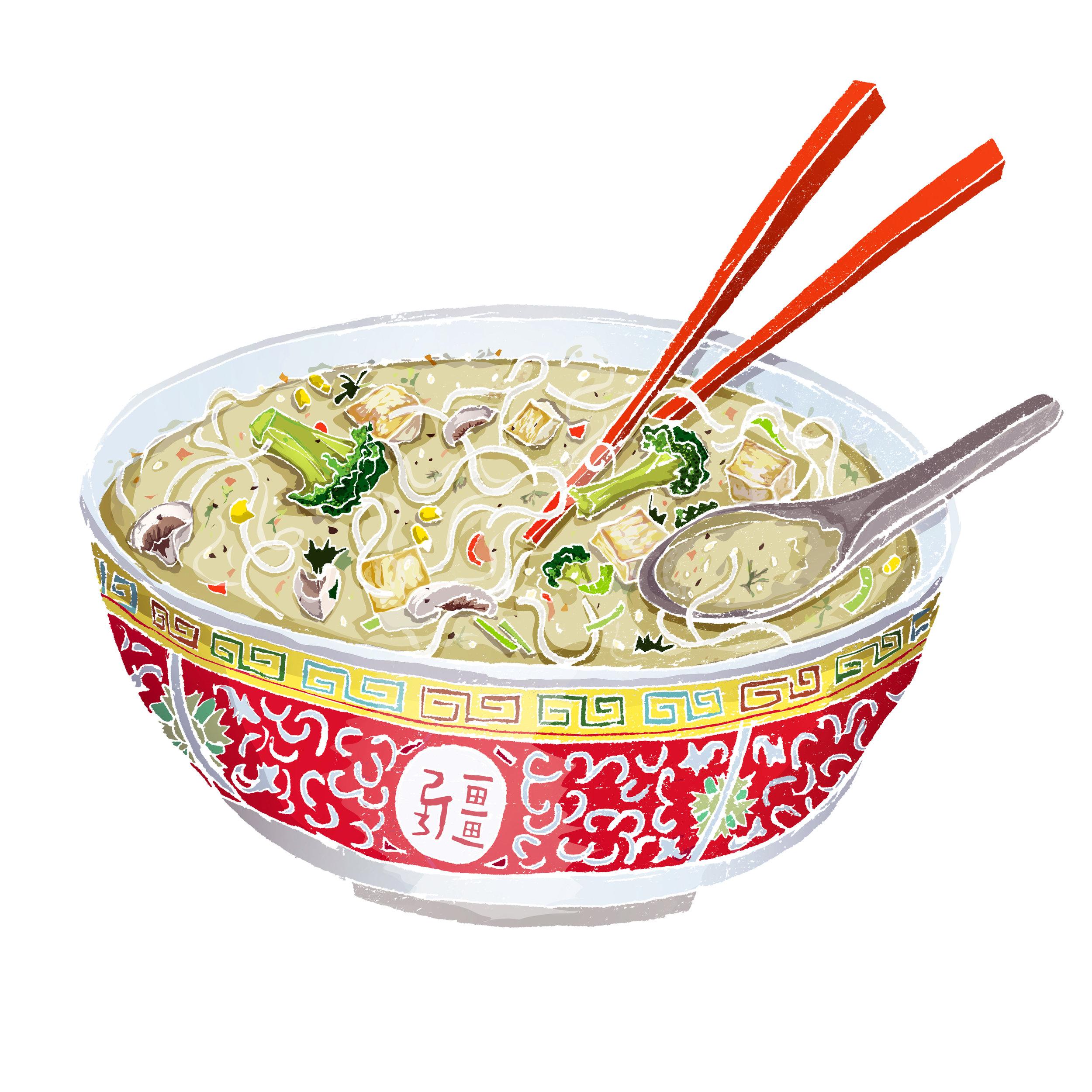 Homemade veggie tofu soup