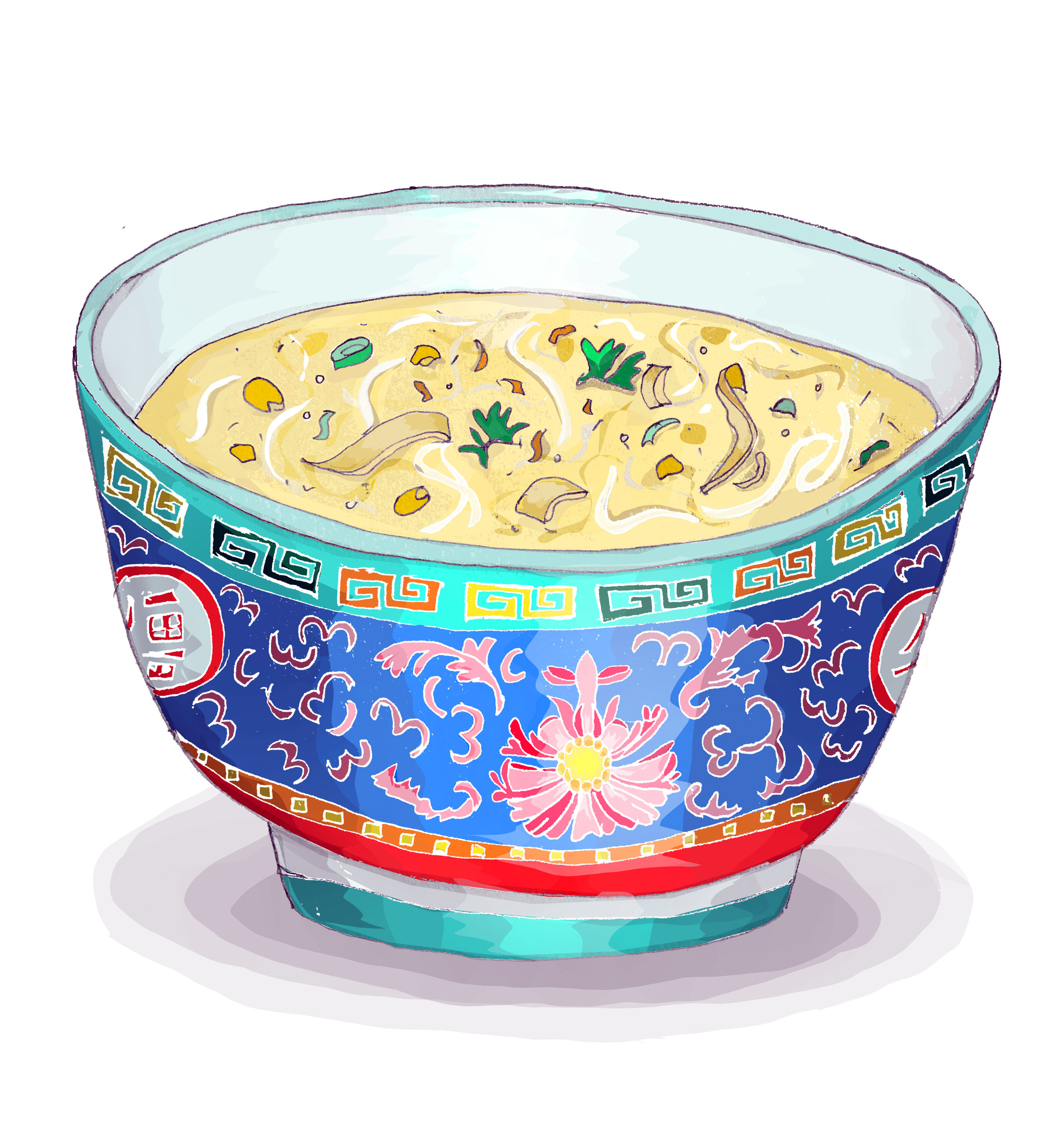 Homemade sweetcorn noodle soup