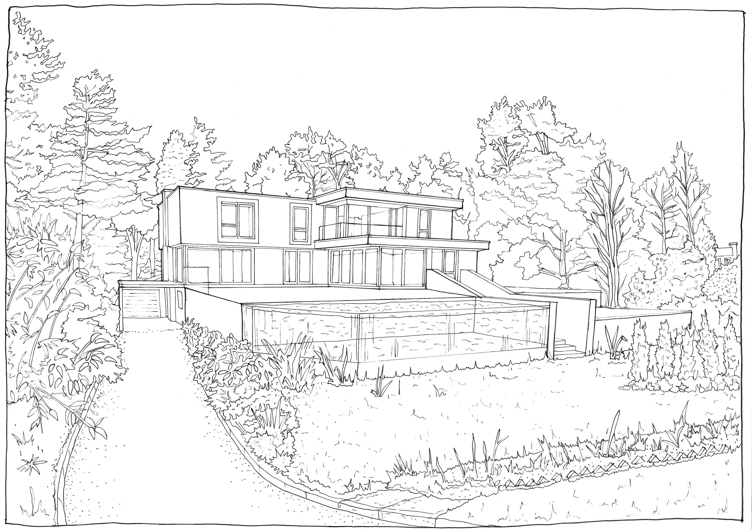 REAR ELEVATION - ORIGINAL PEN DRAWING