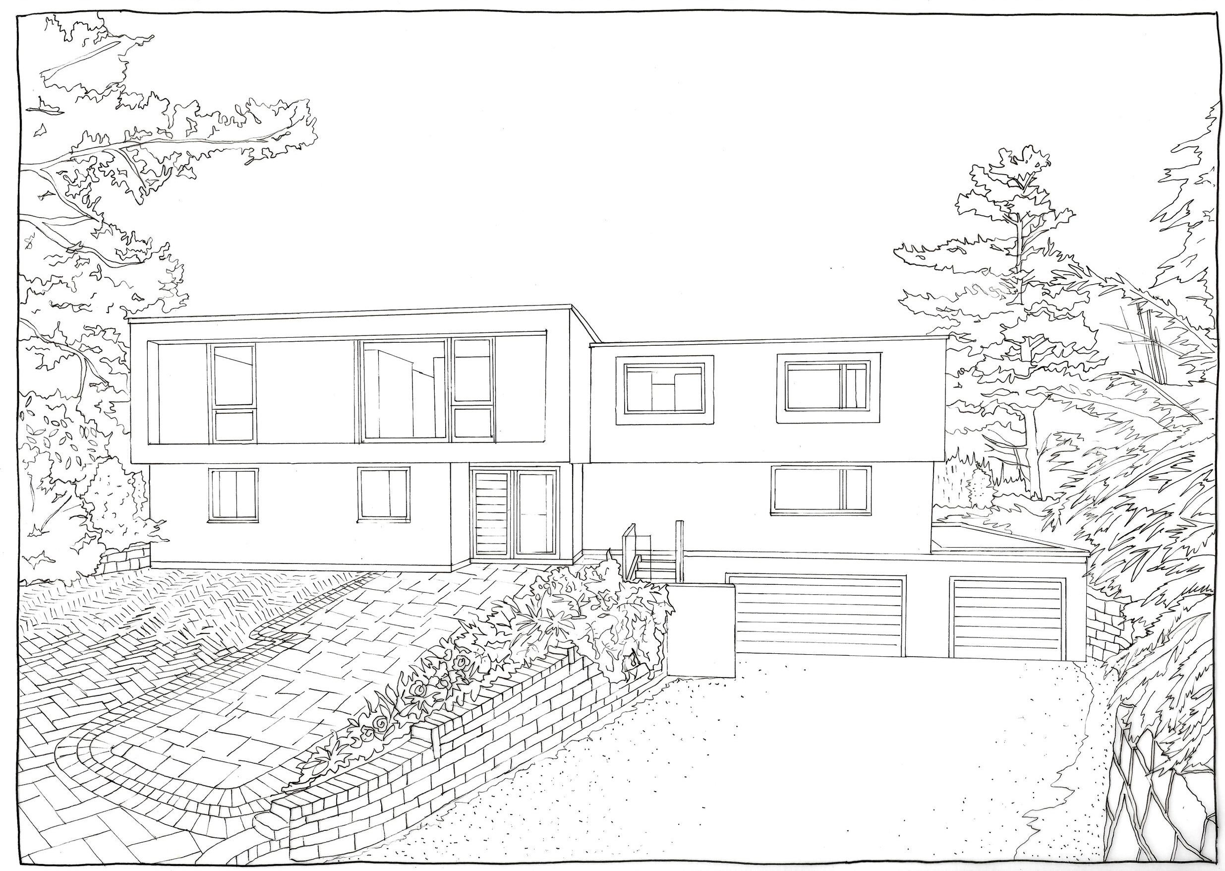 FRONT ELEVATION - ORIGINAL PEN DRAWING
