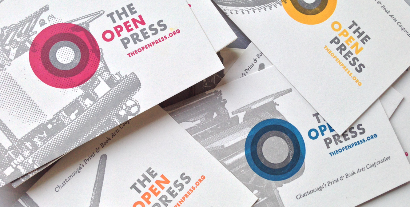 The Open Press Logo Letterpress Business Card