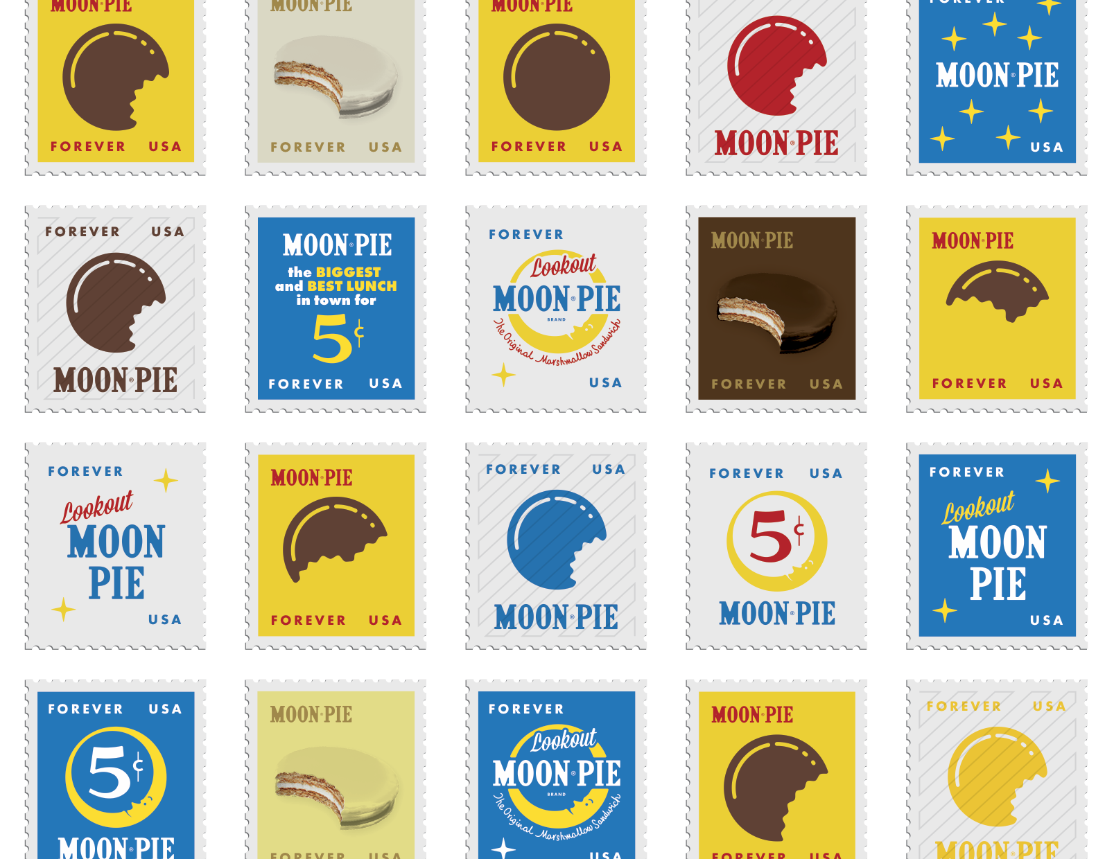 Moonpie Stamps Brand Application Logo