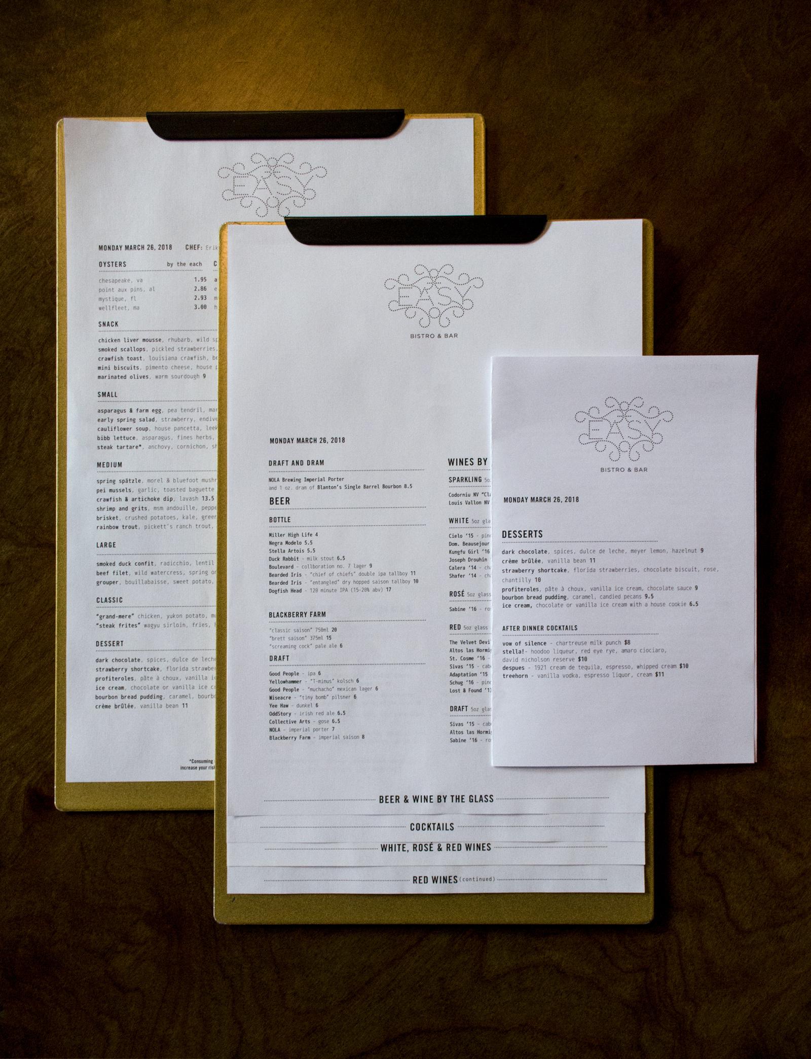 Copy of Easy bistro Menu Print Design Typography