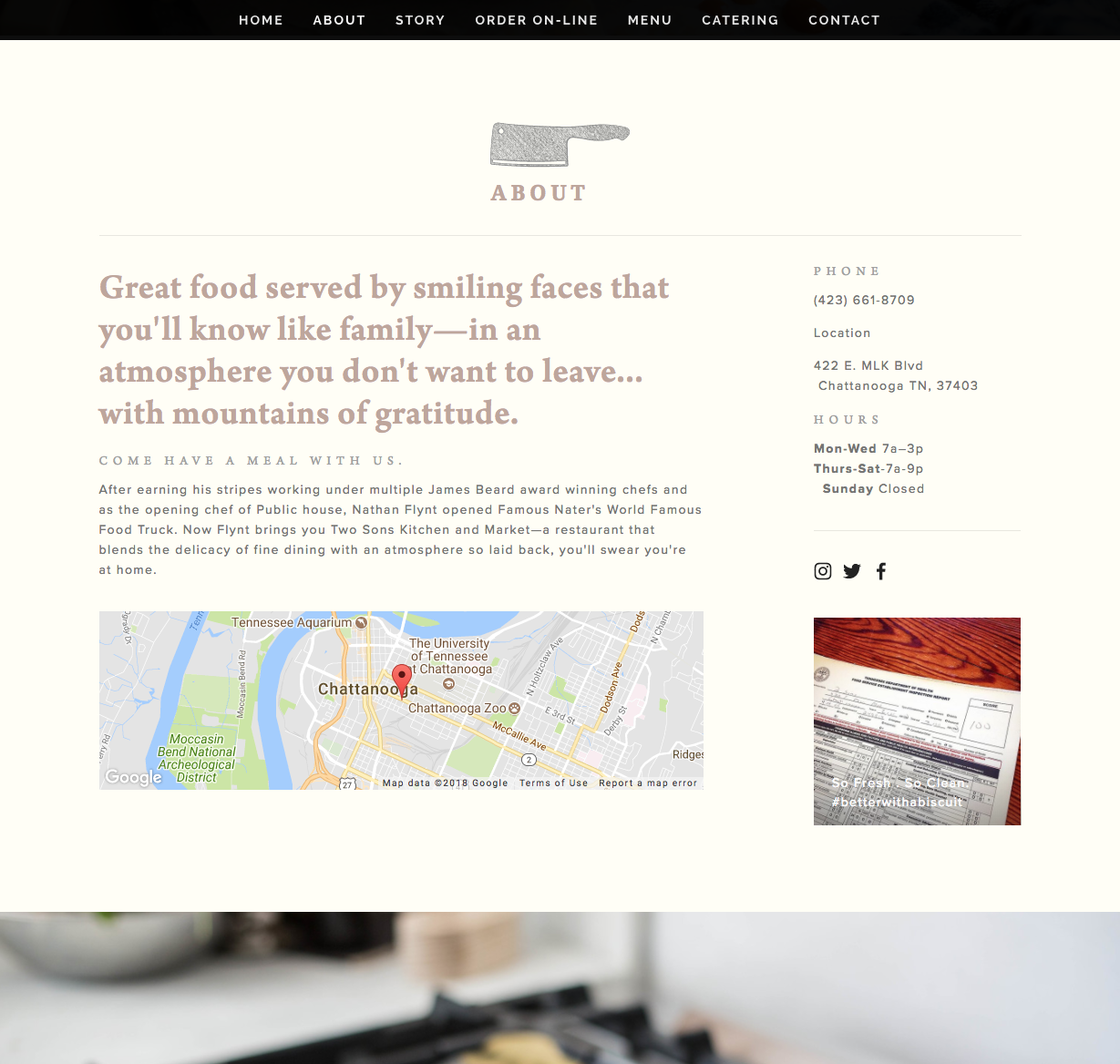 2 Sons Kitchen Market Website About