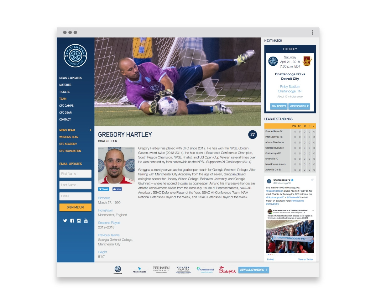 Chattanooga FC Player web page design