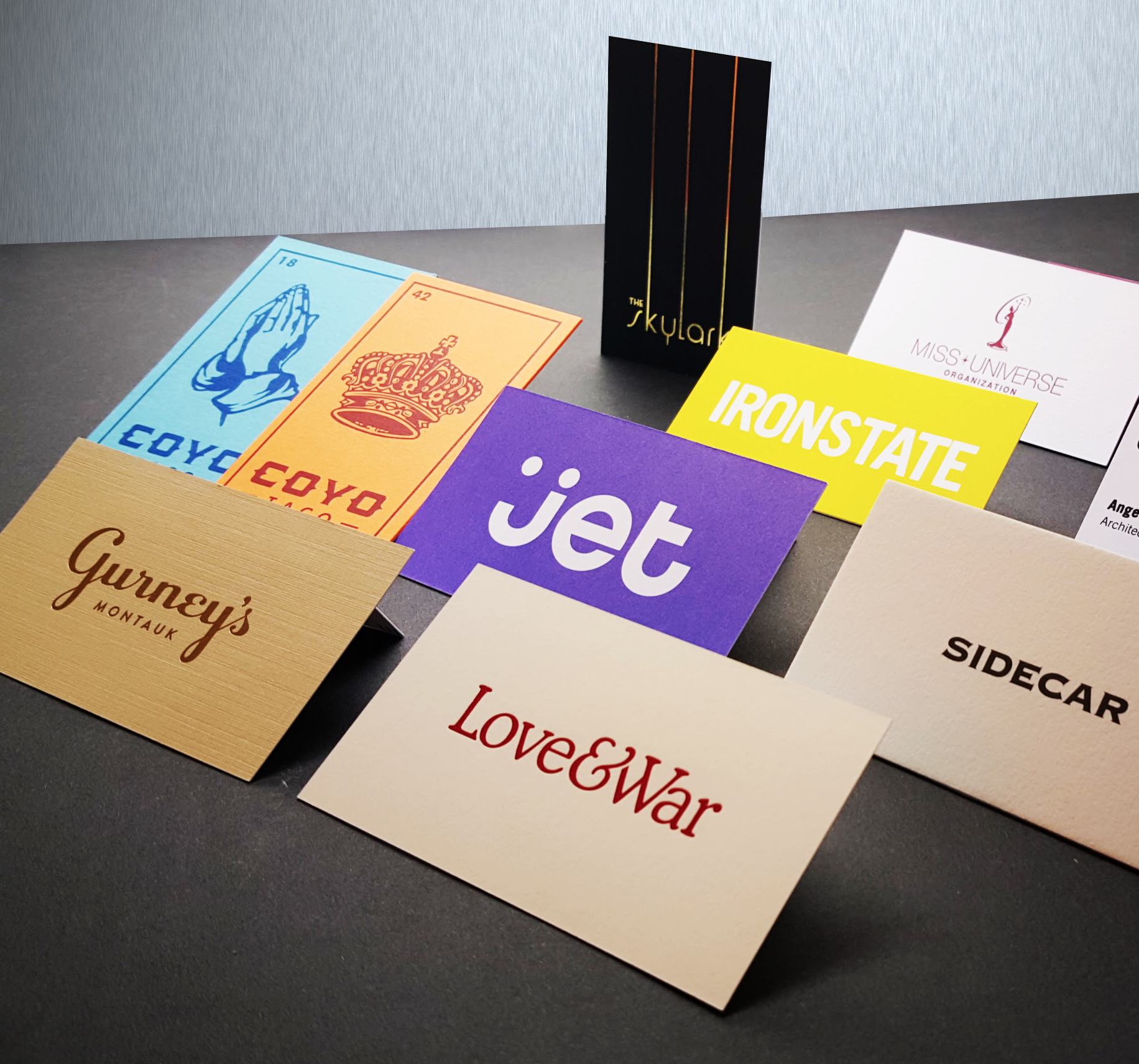 Business card designs for a variety of clients