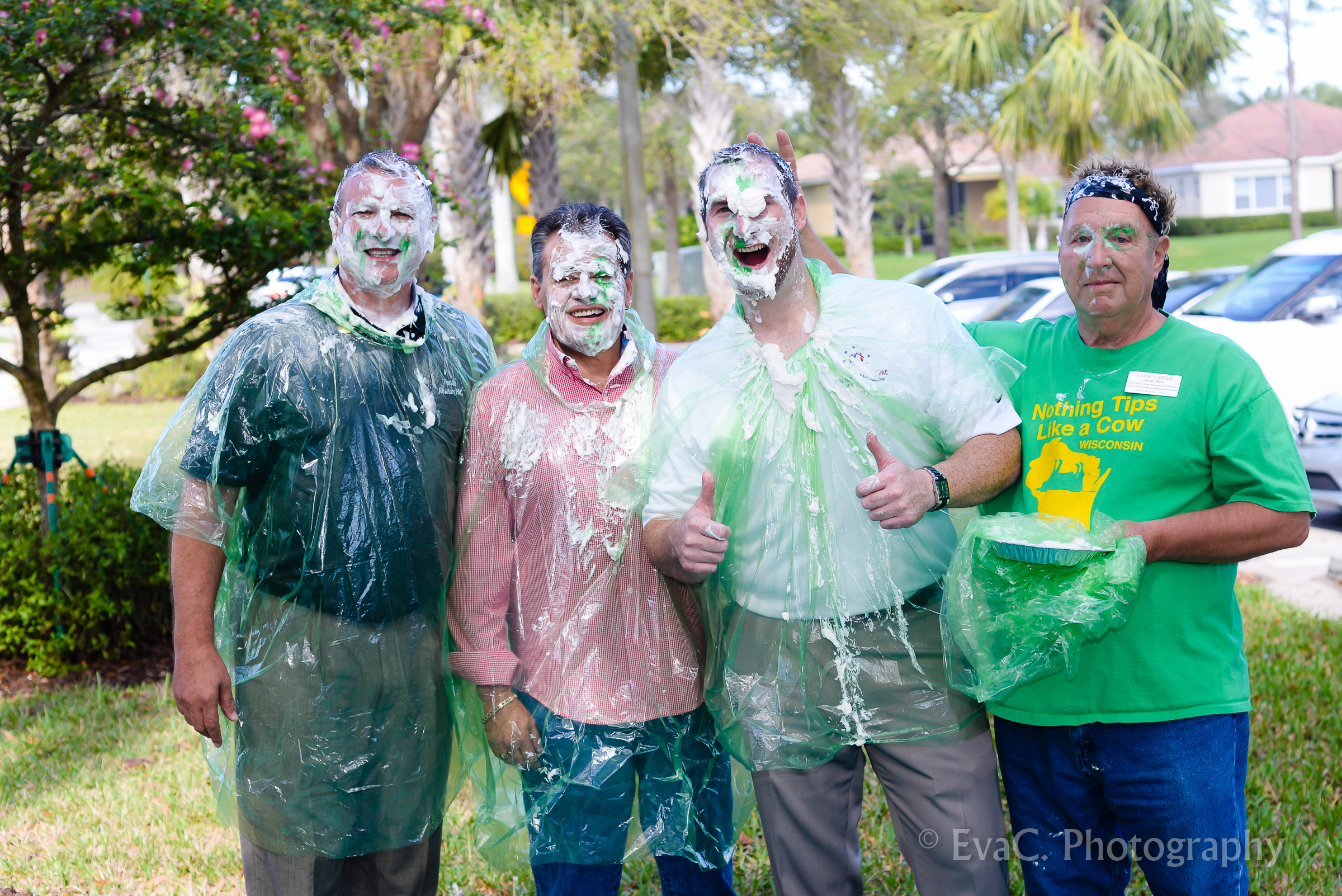 (From left to right) Government Affairs Committee Chair Anthony Gambardella, RPAC Vice Chair Julio Sanchez, RAPB+GFLR First Vice President Jarrod Lowe, Treasure Coast Regional Board Chair Jim Weix after being pied in the face to raise money for RPAC