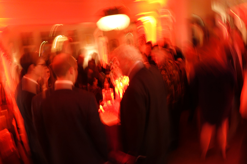 "My favorite photo of our ""Valentine's Soiree"" fundraiser—guests arrive in a blur of red!"