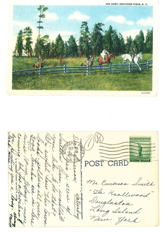 A postcard Muriel sent to Emerson from Southern Pines, N.C. on her way to Florida