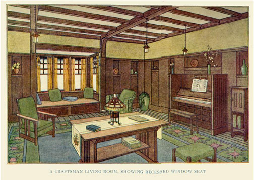 A Craftsman Interior Stickley lavishly illustrated his magazine with color plates, showcasing interiors that had a careful balance of stained wood trim, his trademark built-ins—often oak—with contrasting plaster painted warm, earthy colors.
