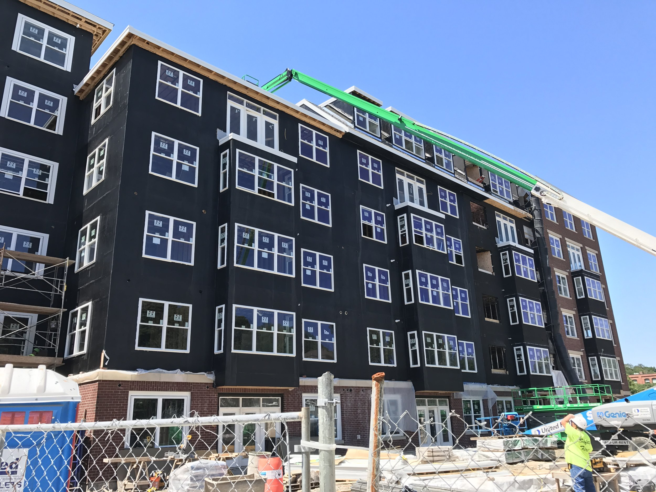 Building envelope construction in progress in Braintree, MA.