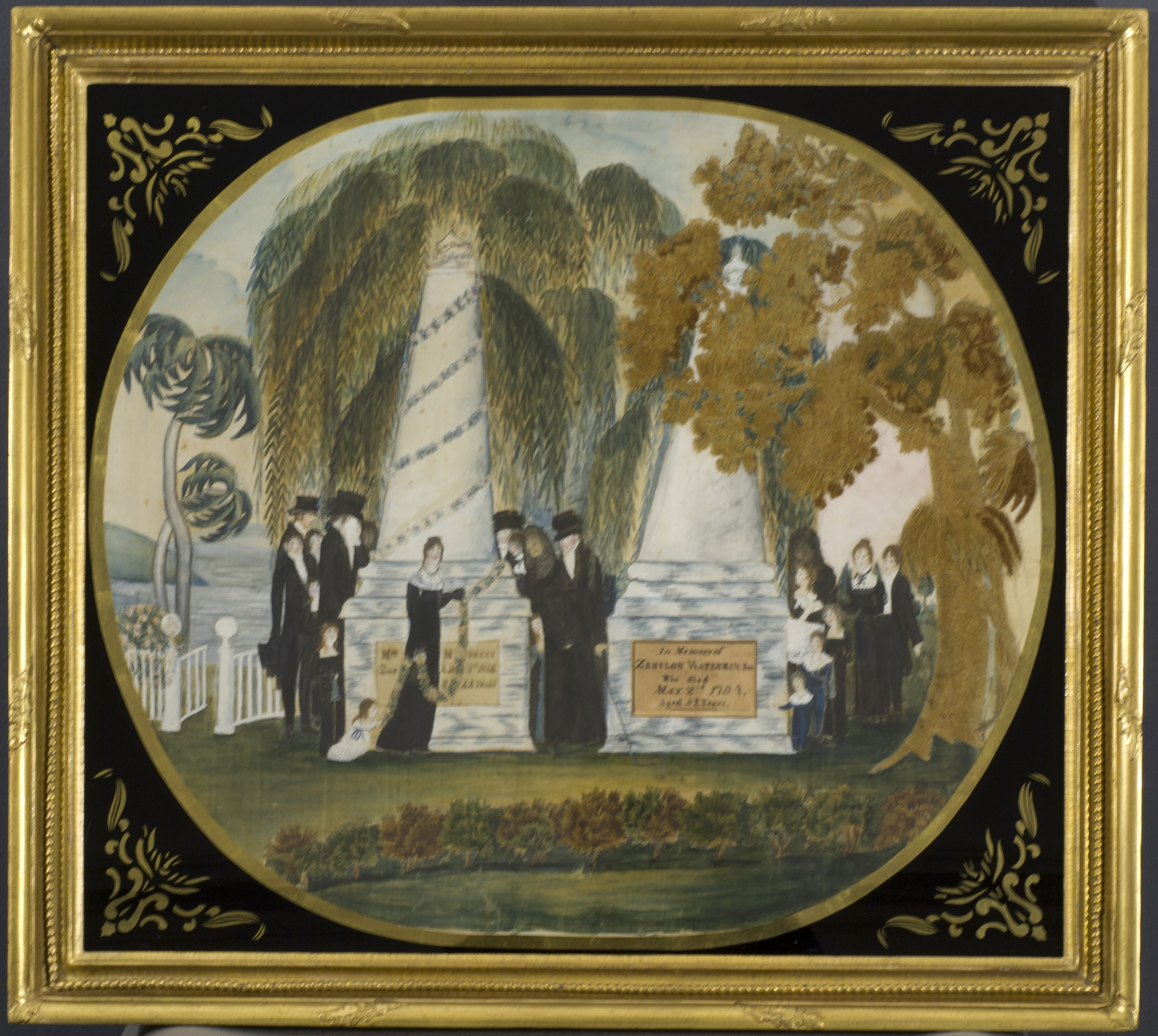 Silk Mourning picture with eglomise glass mat and gilded frame.