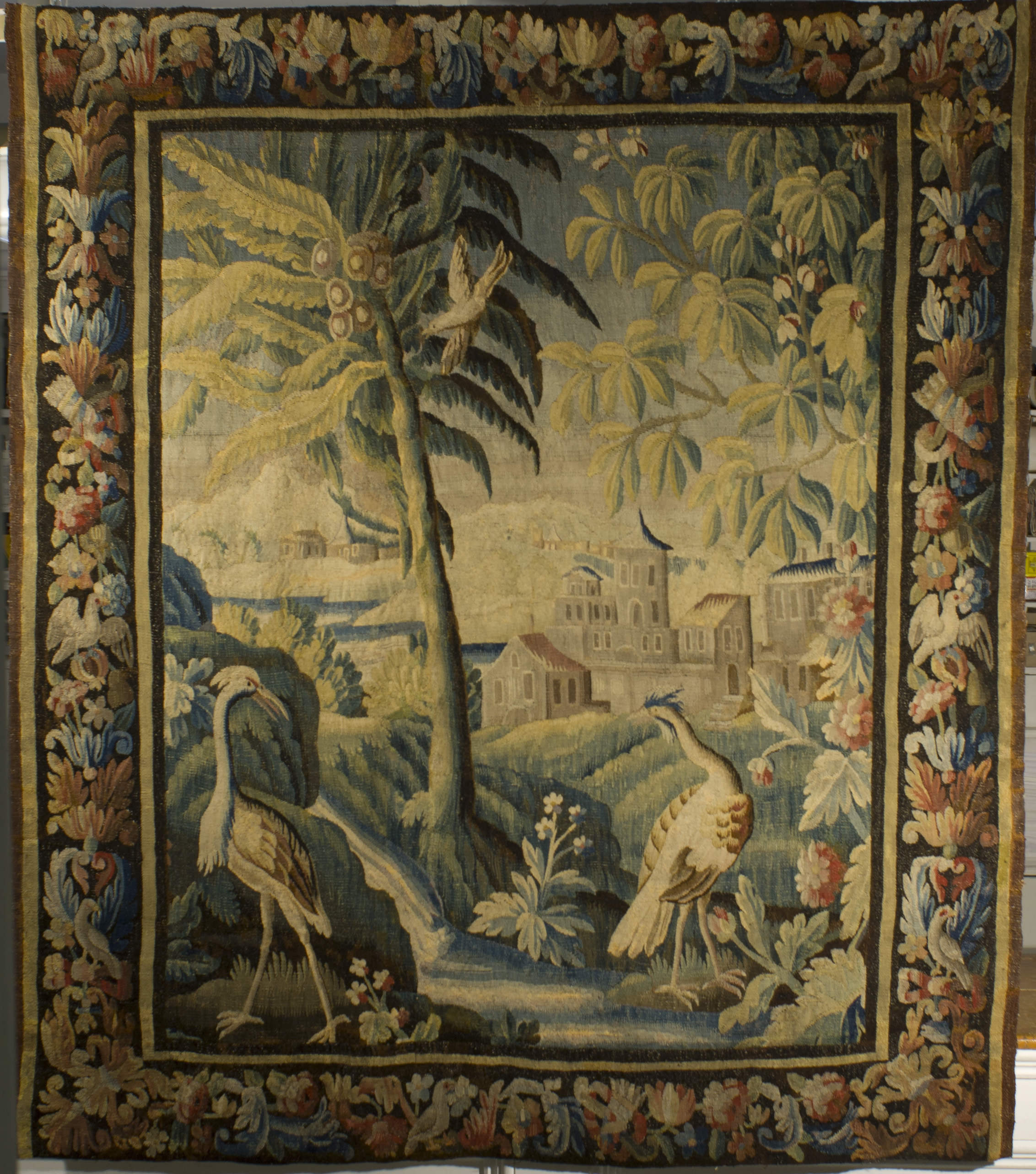18th century tapestry conserved and prepared for hanging.