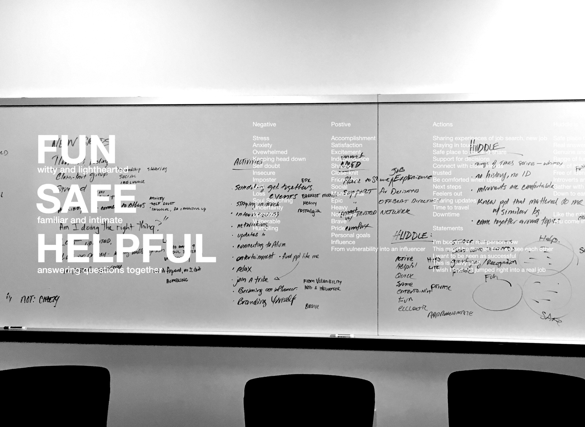 Rebrand - For our first external test, we labored to identify an audience that had lots of questions, we decided on recent college grads. I initiated a redesign of the UI so it would be tailored for the new grads and started with a group exercise to discuss brand attributes.