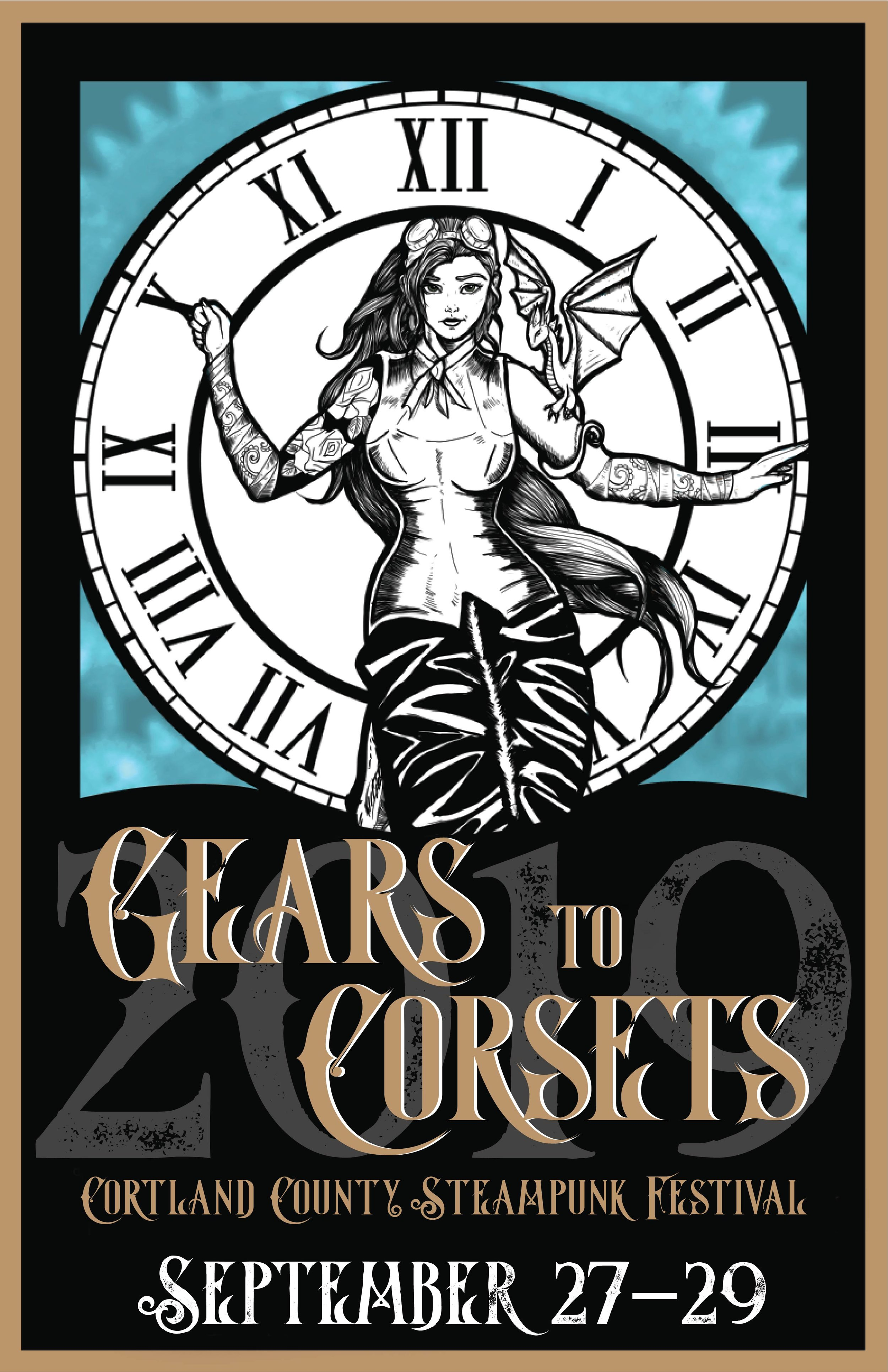 Poster design for Gears to Corsets Cortland County Steampunk Festival