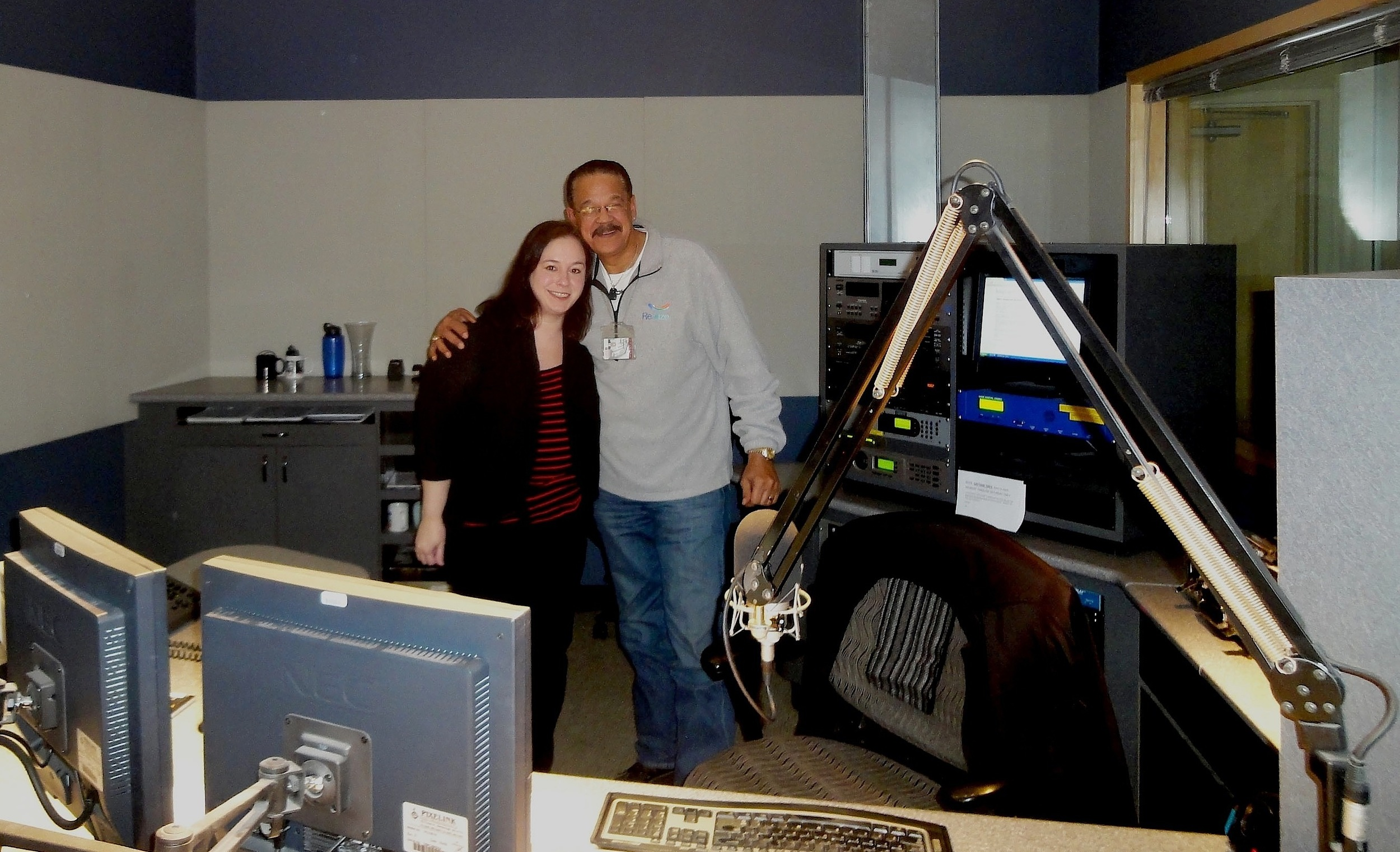 Julie in studio with host Jeff Duperon of WRTI 90.1
