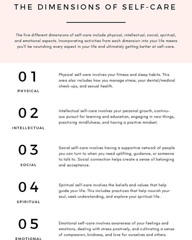 self·care//activities and practices we engage in on a regular basis to reduce stress and enhance our well-being  Dimensions of self-care as outlined by theblissfulmind.com