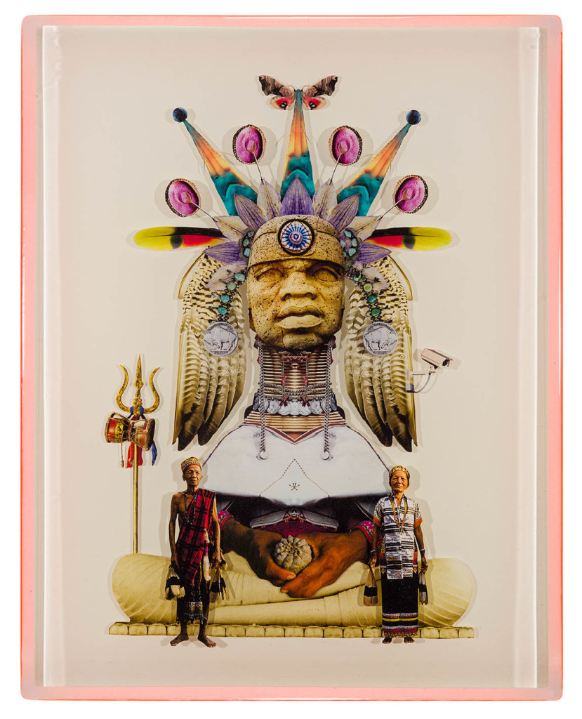 Chief Medicina, Collage layered in resin on mdf, 2014, 14%22 x 18%22.jpg