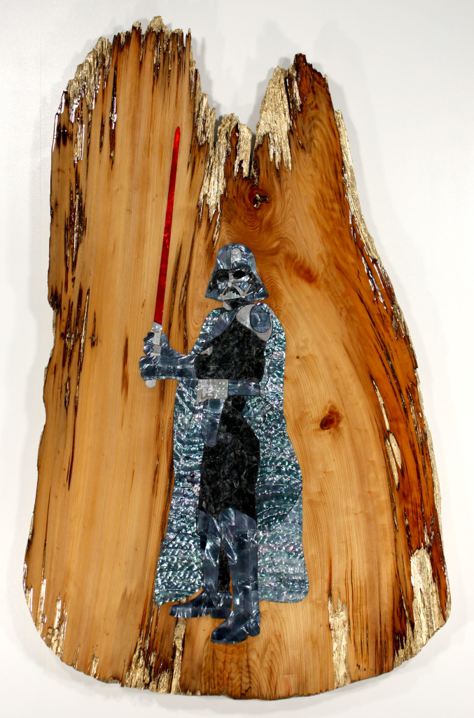 Ted Lincoln, %22The Power of the Darkside%22, Mother of pearl inlay and gold leaf on Cypress slab, 50x31, 2015.jpg