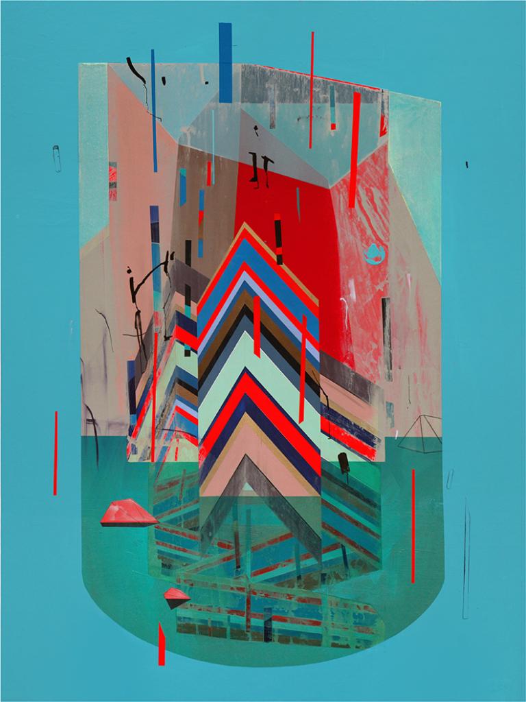 """Island"" Acrylic, wax pastel on Rives BFK mounted to panel, 30%22x40%22, 2014.jpg"