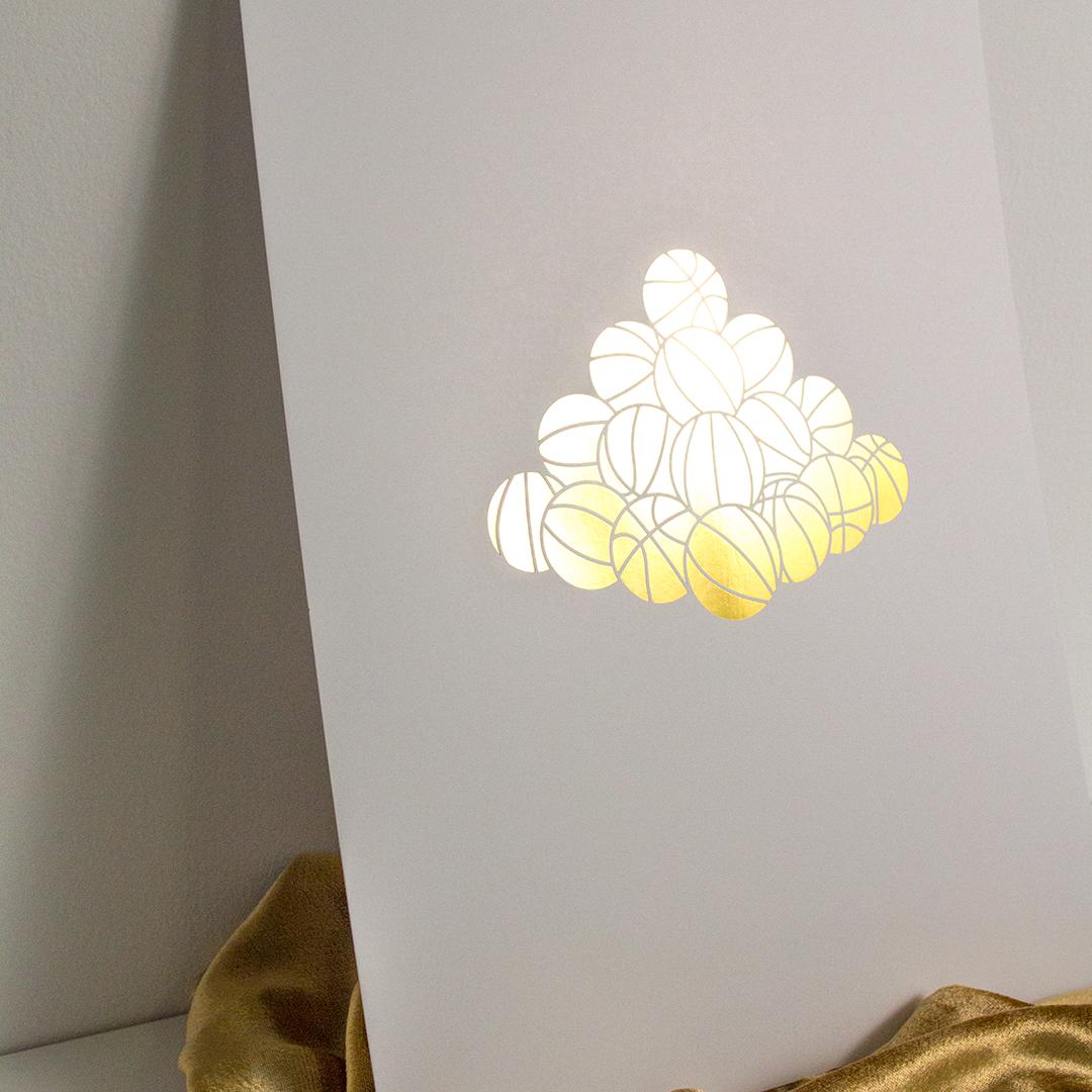 "Victor Solomon, ""Faulhaber Flex"" (print.) 2016. Gold foil stamp on 24pt stock. Edition of 50."