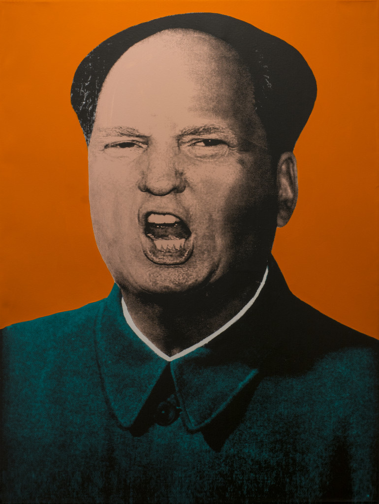 "Knowledge Bennett, ""Trump Mao"" (color scheme 2) 2016. Silkscreen and Acrylic on Canvas. 36 x 48 in."
