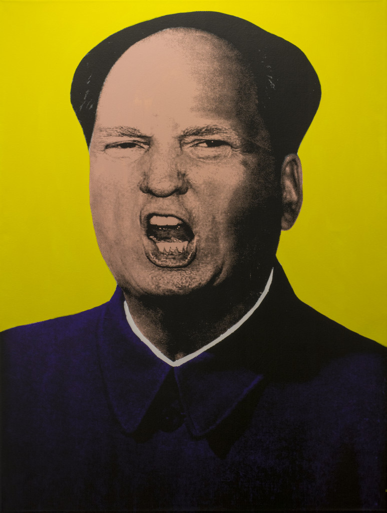 "Knowledge Bennett, ""Trump Mao"" (color scheme 3) 2016. Silkscreen and Acrylic on Canvas. 36 x 48 in."