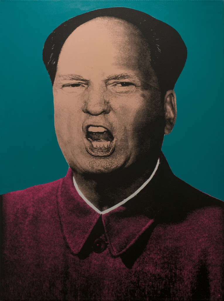 "Knowledge Bennett, ""Trump Mao"" (Teal) 2016. Silkscreen and Acrylic on Canvas. 36 x 48 in."