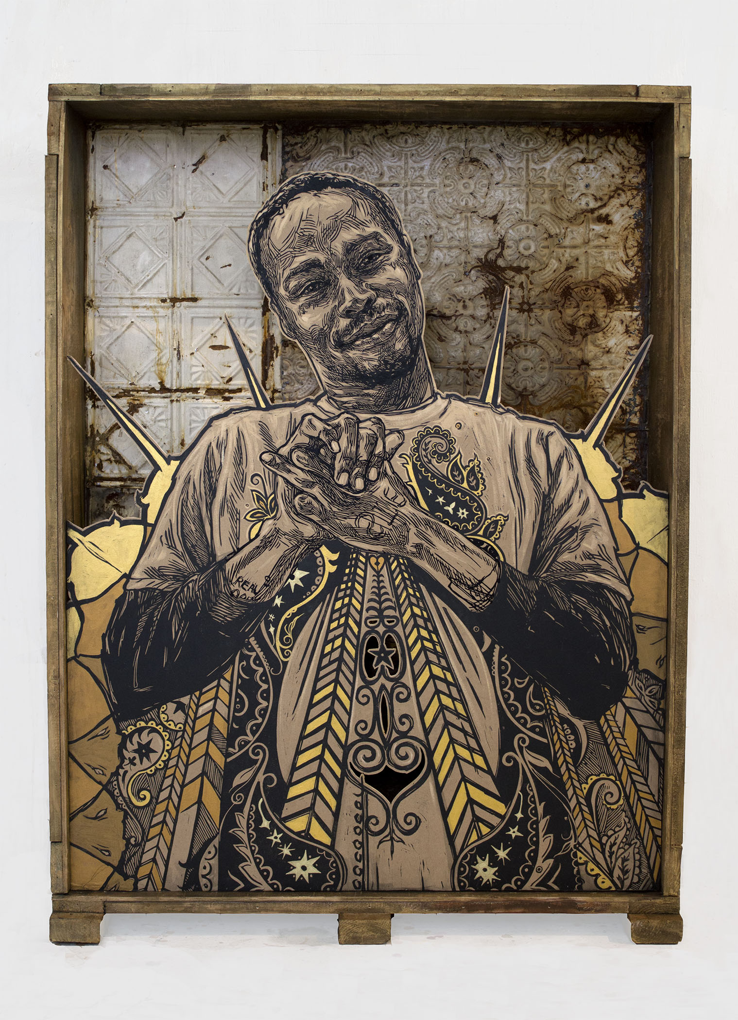 "Swoon, ""George."" 2015. Block print, hand painting and mixed media. 53 x 40 x 9 in."